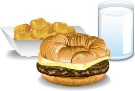 Illustration Of A Fast Food Breakfast With Croissant Sandwich Tater Tots And Milk Stock