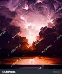 Digital Art Of Lightning Storm Over Ocean