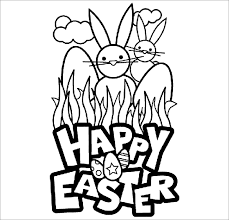 This Free Easter Printable Coloring Page Has 2 Grown Up Bunnies Standing Behind The Grass And Happy Greeting Simple Is Ideal For