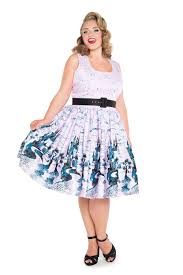 pinup couture aurora 1950 u0027s style dress in pink castle print