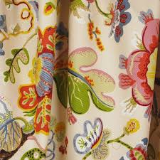 Jacobean Floral Curtain Fabric by Wonderland Pearl Jacobean Floral Upholstery Fabric Traditional