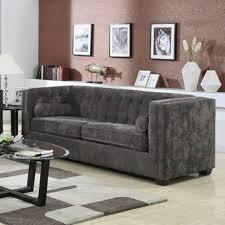 Armen Living Barrister Chair by Armen Living Barrister Modern Grey Velvet Sofa Free Shipping