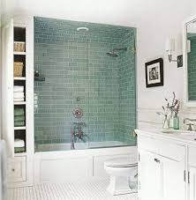 chic small bathroom designs with shower and tub also green