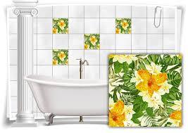 fliesen aufkleber fliesen bild folie nostalgie blumen blätter grün gelb bad wc deko