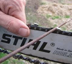 Close Up Of File Sharpening Chain Stihl Chainsaw