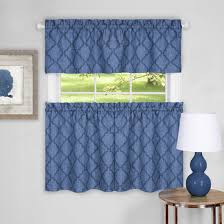 sweet home collection colby window kitchen curtains valance 58 w x 14 l valance blue walmart