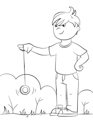 Click To See Printable Version Of Cartoon Boy Playing Yo Coloring Page