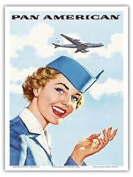 Image Is Loading Airline Stewardess Pan Am Vintage Travel Art