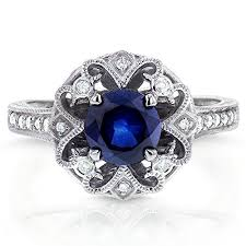 Antique Round Blue Sapphire And Diamond Vintage Style Engagement Ring 1 2 Carat