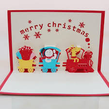 Christmas Train With Snowman 3d Handmade Decoration Pop Up Paper Laser Cut Greeting Cards Crafts Kirigami Birthday