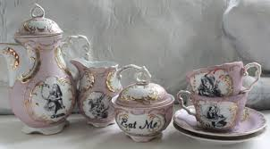 7 Piece Alice in Wonderland Pink and Gold Tea Set Available