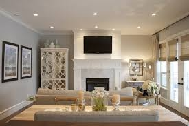 Modern Recessed Lighting For Classic Living Room Decorating Ideas Using White And Grey Interior Colors Stylish Fireplace