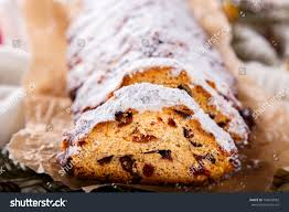 Dresdner Stollen Traditional German Cake Raisins Stock