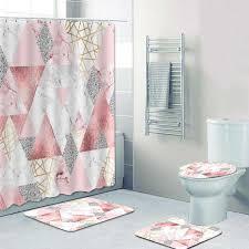 4pcs gold rosa und grau marmor dusche vorhang set für bad vorhänge geometrische hexagon bad matten teppiche wc wohnkultur