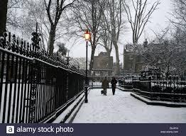 100 Kensington Church London Snow On Walk UK Stock Photo