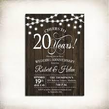 20th Wedding Anniversary Invitation Wood Printable Rustic Fairy String Lights Digital Customized