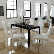 7 tlg esstisch set schwarz weiß