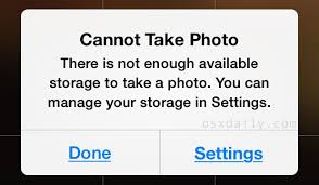 "iPhone ""Cannot Take "" Because Not Enough Storage Temporary"