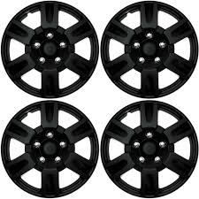 4 Piece Set Black Matte Hub Caps FITS 16