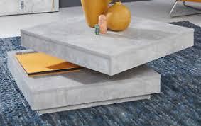 details zu couchtisch grau beton design wohnzimmertisch drehbar quadratisch funktion ablage