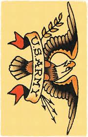 11 X 17 Big US ARMY Insignia Eagle Sailor Jerry Style Tattoo