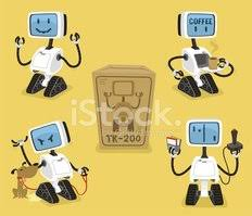 Robot Set With Happy Coffee Angry Playing Robots