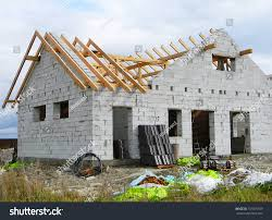 100 House Trusses Roofing Construction Wooden Timber Stock Photo