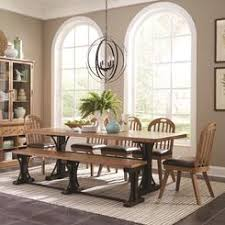 Coaster French Farmhouse Dark Coffee Wood Finish Dining Table Side Chairs Bench 6pc Set Cushion
