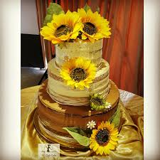 Sunflower Rustic Semi Naked Wedding Cake