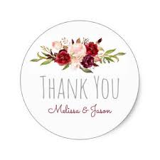 romantic fall wedding watercolor flowers thank you classic round