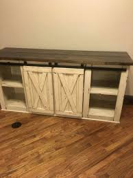 Farmhouse TV Console Media Rustic Stand By CMwoodwerks