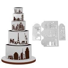 pochoir pour cuisine 5 pcs paysage urbain en plastique gâteau pochoirs pour mariage
