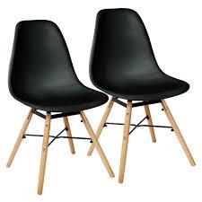 schwarz 2er set skandinavisches retro design modern stühle esszimmerstühle möbel holz stahl kunststoff schale rund für wohnzimmer esszimmer küche büro