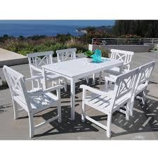 Vifah Bradley Acacia White 7-Piece Patio Dining Set With 32 In. W ... Amazoncom Ashley Fniture Signature Design Mallenton East West Avat7blkw 7piece Ding Table Set Hanover Monaco 7 Pc Two Swivel Chairs Four Garden Oasis Harrison Pc Textured Glasstop Small Kitchen And Strikingly Ideas Costway Patio Piece Steel Belham Living Bella All Weather Wicker Athens Reviews Joss Main 7pc Outdoor I Buy Now Free Shipping Winchester And Slatback Ruby Kidkraft Heart Kids Chair Wayfair