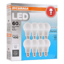 sylvania 60w equivalent led a19 l light bulb 8 pk daylight