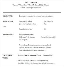 Example Of A Resume For Highschool Student