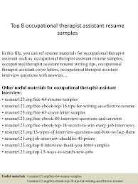 Top 8 Occupational Therapist Assistant Resume Samples In This File You Can Ref Materials