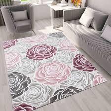 moderner wohnzimmer teppich muster in rosa grau creme vimoda homestyle