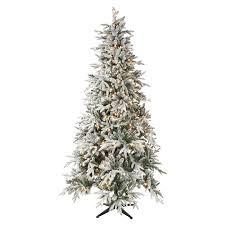 75 Pre Lit Pendleton Quick Set Flocked PE Mixed Pine Christmas Tree