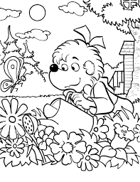 Sister Bear Watering The Garden Coloring Pages