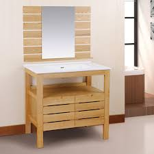 Cheap Vanity Chairs For Bathroom by Brown Wooden Bathroom Vanity With White Top And Sink On Ceramics
