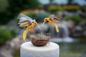 SALE Hummingbird Wedding Cake Topper In Sunshine Yellow Rustic Bride And Groom Love Bird LoveNesting Toppers