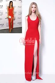 sleeveless scoop neck red sheath long celebrity chanel iman red