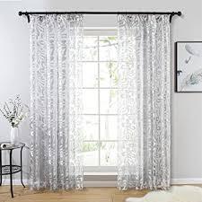topfinel gardinen ausbrenner mit kräuselband und blumen mustern voile vorhänge für wohnzimmer 2er set je 160x140cm hxb grau