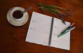Notebook Writing Coffee Wood Leaf Green Color Office Communication Agenda Art Drawing Calligraphy Shape To Write
