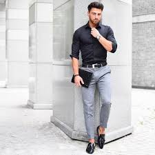 Mens Black Shirt Grey Smart Trousers Street Style