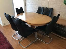 verstellbares rund esstisch aus echt holz komplett mit 6 stühlen