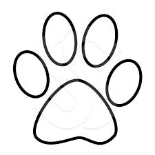 Cat Paw Print White Outline On Black Version