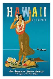 Hawaiian Hula Girl Pan American World Airways Vintage Travel