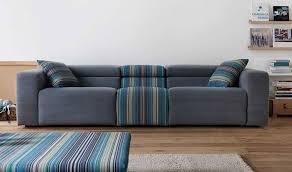 design canapé canapé design 3 places en tissu gris et rayures relax électrique